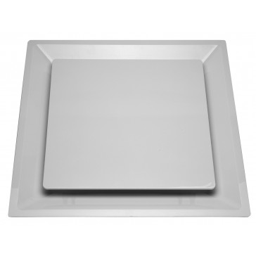"""White Plastic 2'x2' Plaque Supply Grille with 12"""" Pre-Molded Boot"""