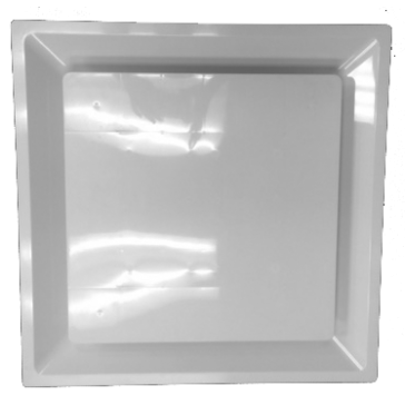 """White Plastic 2'x2' Plaque Supply Grille with 8"""" Pre-Molded Boot and Insulated Back"""