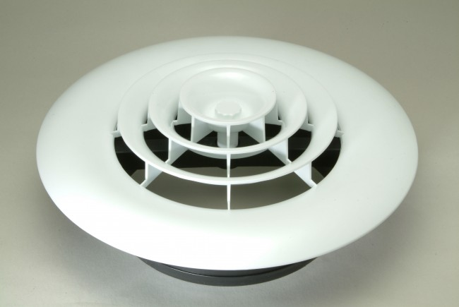 Ceiling Vent With Register Boot And White Round Grille