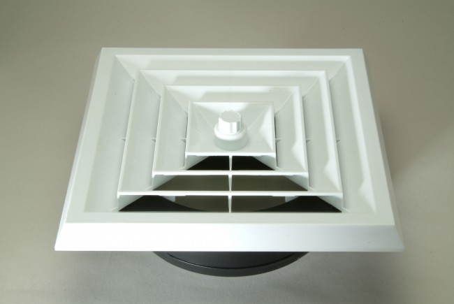 Ceiling Vent With Register Boot And White Square Grill
