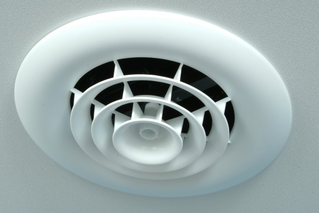 Installed Round Ceiling Diffuser