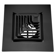 "Black Plastic 2'x2' Bordered Supply 2-Way Grille with 8"" Pre-Molded Boot and Insulated Back"