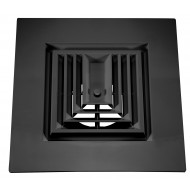 "Black Plastic 2'x2' Bordered Supply 3-Way Grille with 6"" Pre-Molded Boot"