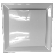"White Plastic 2'x2' Plaque Supply Grille with 8"" Pre-Molded Boot and Insulated Back"